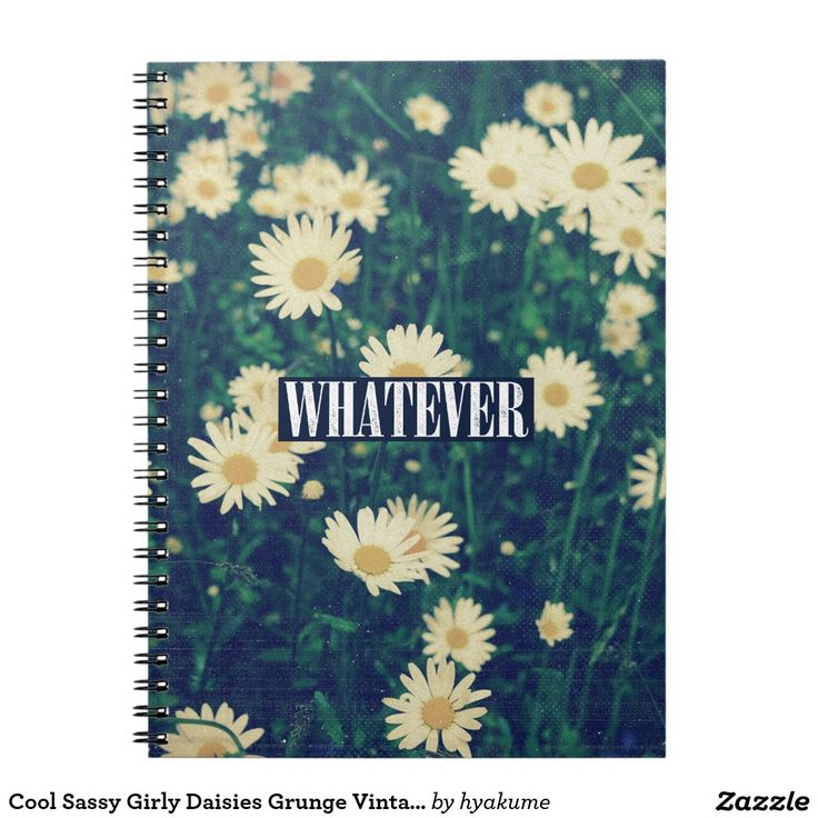 Cool Sassy Girly Daisies Grunge Vintage Whatever Notebook
