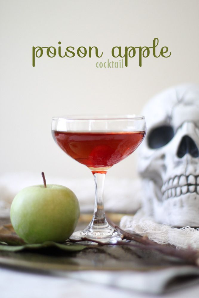 A poison apple cocktail for Halloween, featuring Crown Royal Canadian Whiskey, Sour Apple Pucker Schnapps, and Cranberry Apple Juice