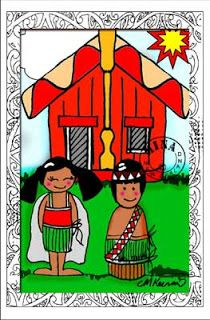 Big marae with kids poster