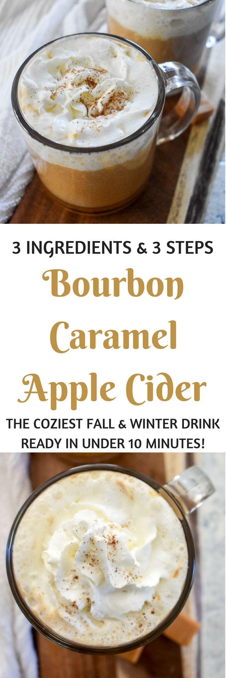 Bourbon Caramel Apple Cider is ready in 3 steps with 3 ingredients for the coziest warm Fall and winter drink in under 10 minutes. Recipe by Dash of Jazz