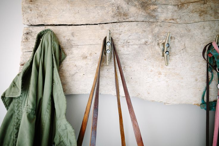 Salvaged barn board turned coat rack with refinished boat tacks. ~ETS #teclaimedwood