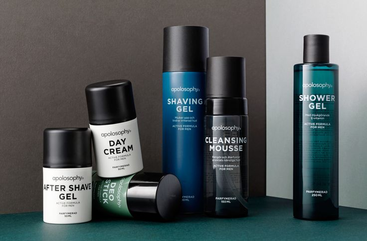 Logotype and packaging designed by BVD for Swedish cosmetic brand Apolosophy's new male range.