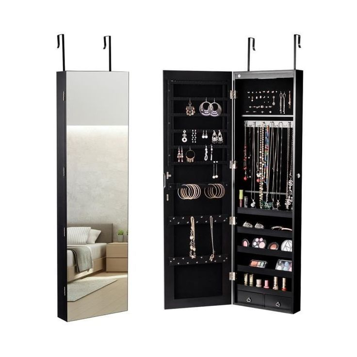 Armoire à Bijoux Mural Armoire Bijoux de Rangement avec Miroir et Lumière LED 120 x 36 x 10 cm Accrochée à la Porte Noir