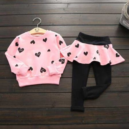 Cute Heart Print Two Pieces Set