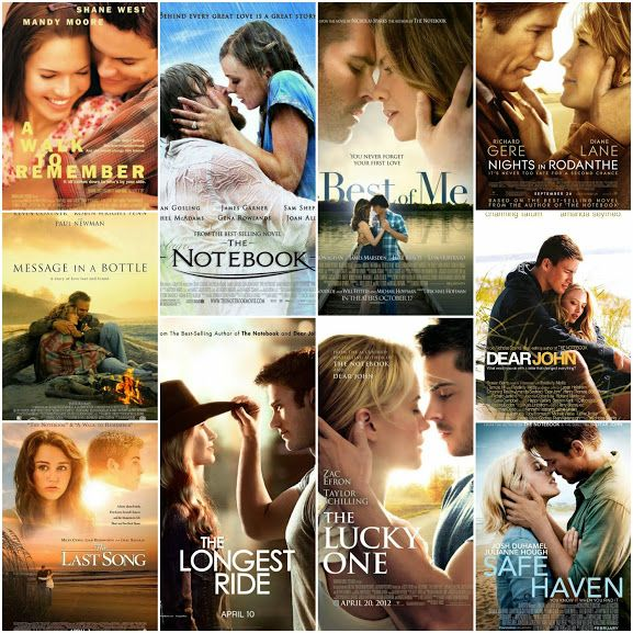 Movies: Message in a Bottle 1999, A Walk to Remember 2002, The Notebook 2004,Nights in Rodanthe 2008,Dear John 2010,The Last Song 2010, The Lucky One 2012, Safe Haven 2013, The Best of Me 2014 & The Longest Ride 2015 -  http://vbox7.com/play:b019c5caf2