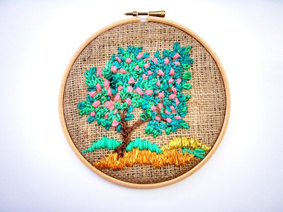 Art Textiles Tapestry Embroidered Miniature Handmade Hoop Art Fiber art Modern art Tree in summer via Etsy