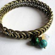 Bratara bronz metal si pietre malachit, opal si turcoaz, bratara femei - cadouri femei