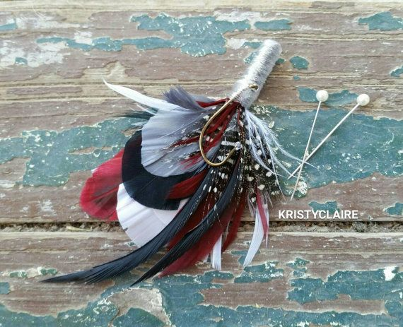 Burgandy Grey White Black Fishing Boutonniere by KRISTYCLAIRE #wedding #boutonniere #buttonhole #lapel #hunting #huntingwedding #masculine #camouflage #rustic #rusticwedding #countrytheme #countrywedding #country #rusticthemed #fishing #fishingwedding #flyfishing #fishingline #hook #fishinghook #burgandy #burgandyandgrey #grey #plum #cranberry #cranberrycolor #cranberryandgrey #white #black #wine #winecolor #wineandgrey