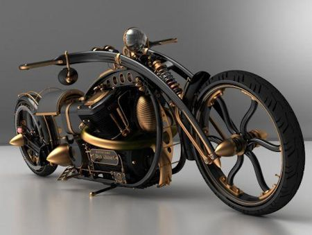 Steampunk motorcycle concept by Solifague