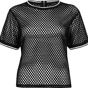 Black mesh sporty oversized T-shirt