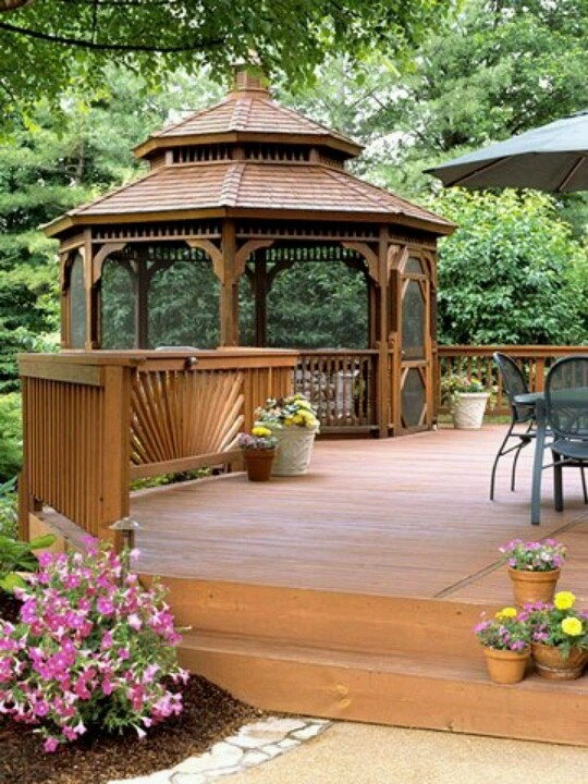 401 best images about gazebos on pinterest for Garden decking with gazebo