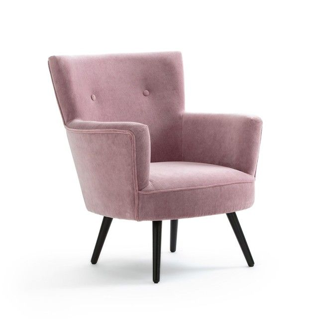 Fauteuil Rose Look Vintage En Velours Vintage Look Velvet Armchair Armchair Furniture Decor