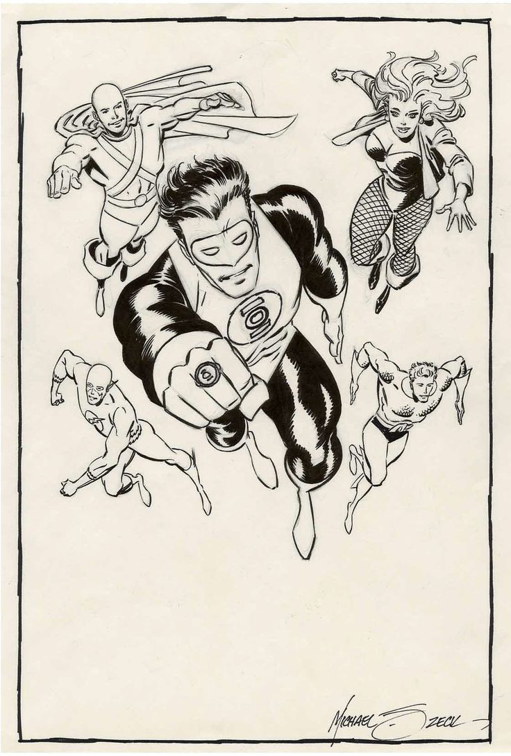 Original Justice League pin-up by Mike Zeck, 1998.