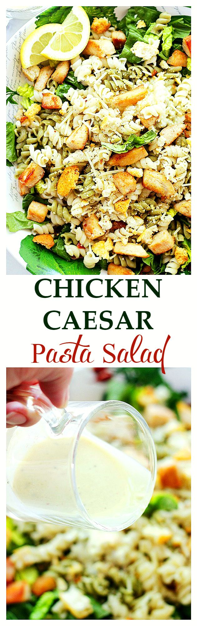 Chicken Caesar Pasta Salad with Light Caesar Dressing: Pasta and salad greens tossed with grilled chicken and a delicious, homemade (NO YOLKS!) Light Caesar Dressing. Get the recipe on diethood.com