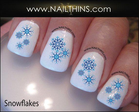 SNOWFLAKE  Nail Decal snow flake Nail Design  by NAILTHINS on Etsy, $3.45