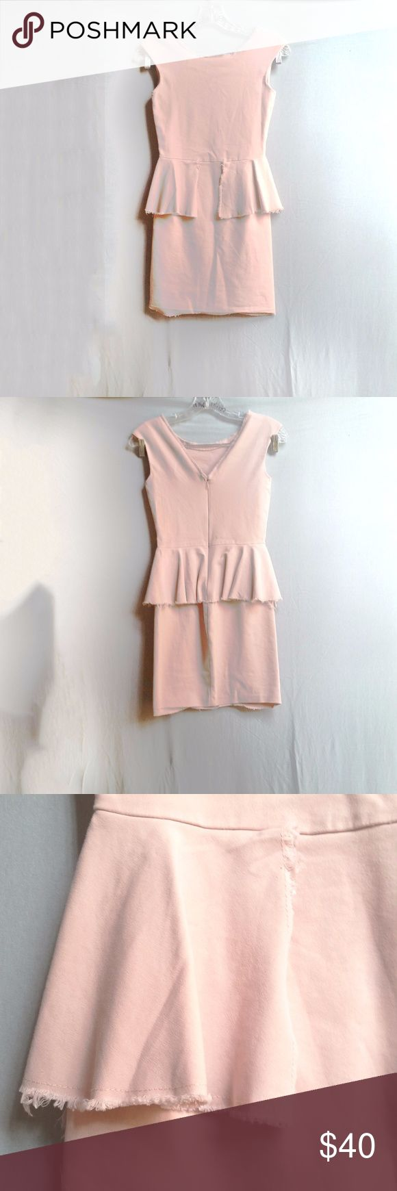 """Zara Pink Raw Hem Peplum Bodycon Dress Worn once - dry cleaned. No flaws or stains. Has a raw hem with frayed edges. Back zipper. V neck in front and back. Tag Size: Small Length: 32"""" Waist to Hem: 18"""" Waist flatlay: 12.5-13"""" Pit to Pit: 14.5"""" 48% cotton, 45% polyamide 7% elastane (super stretchy!)  #tothedunes #zara #pink #peplum #cocktail #summer #spring #fall #basic #dinner #date #fancy #work #modern #chic #street Zara Dresses Mini"""