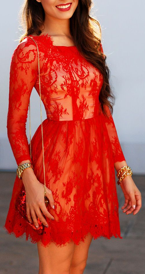 Scarlet Red Lace Dress----> Want more? Follow me at http://www.pinterest.com/TruckSchoolInfo/