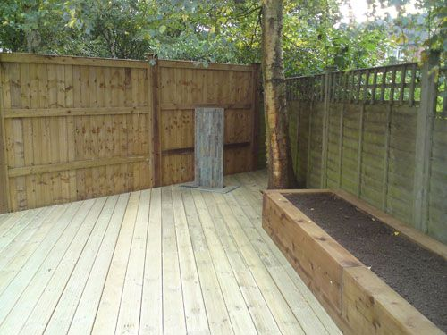 17 best images about side patio on pinterest gardens for Garden decking sleepers