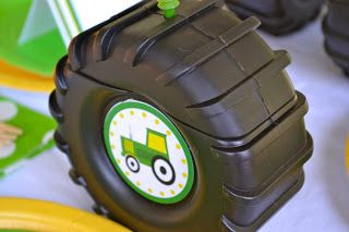 Replaced Monster Truck drink cups with a tractor sticker and made them for a John Deere party
