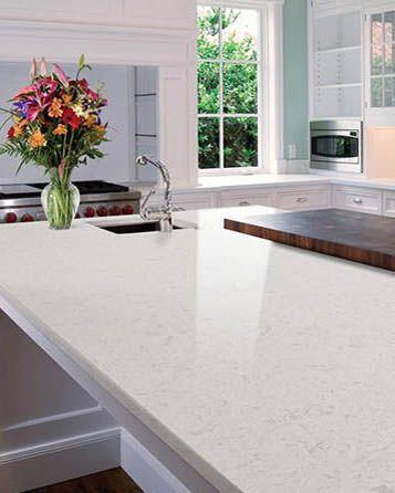 Glacier White Quartz Is A Sparkling Milk White Polished Quartz Faintly Clouded With Fr Quartz Countertops Sparkle Quartz Countertop Quartz Kitchen Countertops