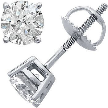 Diamond stud earrings in white gold