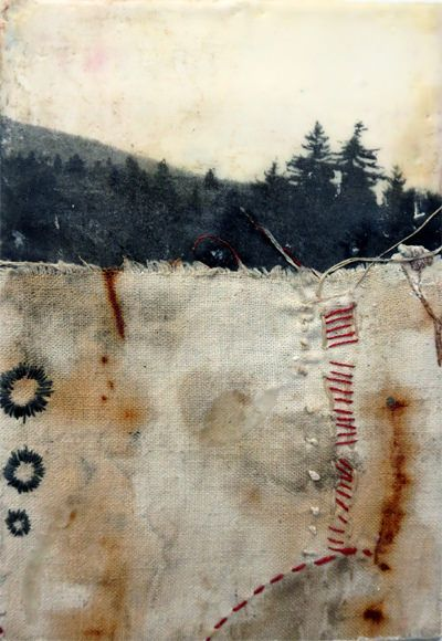 """""""The land know"""" - mixed media - encaustic, fabric and thread"""