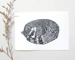 Woodblock print racoon