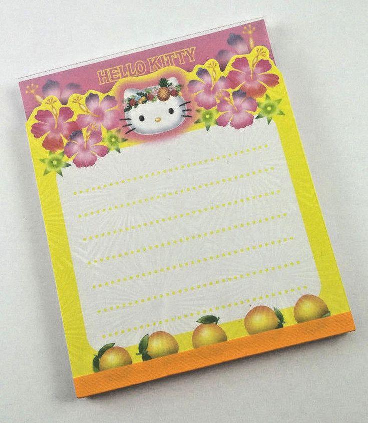 Rare Sanrio Hello Kitty Flowers Oranges Memo Pad Japan Stationery Kawaii 2001 #Sanrio