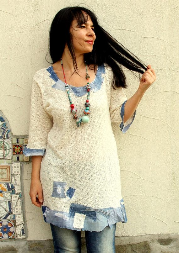 L-XL Summer sweater denim jeans appliqued recycled hippie boho