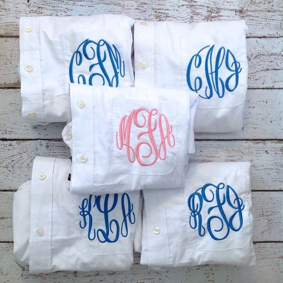 5 Monogrammed Bridesmaid Shirts For Bridal by HeatherStrickland Elegant Monograms  Cute or Bridesmaid gifts!