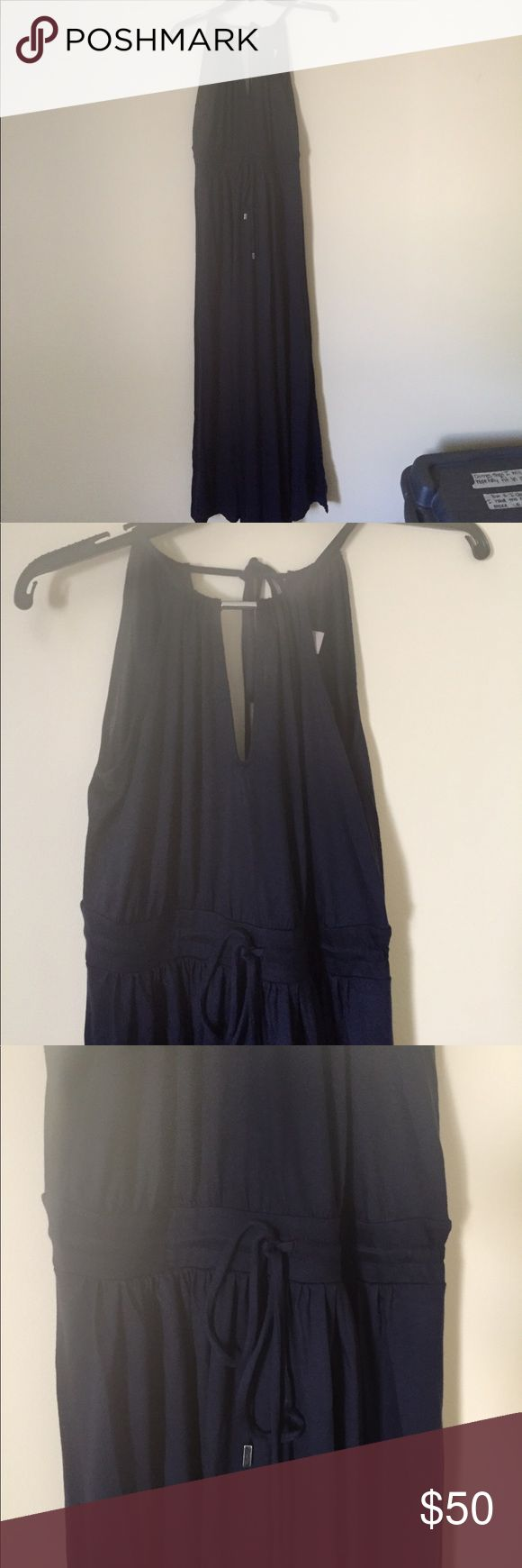 Banana Republic Navy Halter Maxi Perfect summer dress! Can either be worn to a casual or more formal event.  Cotton navy maxi dress with tie around halter neck and drawstring at waist.  Very flattering.  Like new condition I don't think that I've ever worn this.  All offers welcome. Banana Republic Dresses Maxi