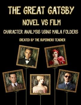 best the great gatsby analysis ideas the great gatsby novel vs film analysis using manila folders teacherspayteachers