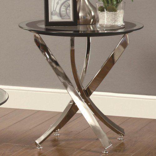 Chrome Glass Top End Table Colinara Glass Top End Tables Glass End Tables End Tables