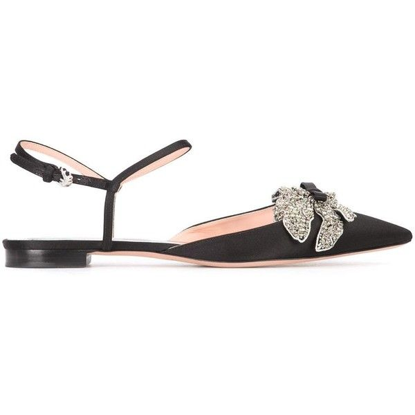 Rochas crystal embellished flat sandals (€615) ❤ liked on Polyvore featuring shoes, sandals, black, ribbon sandals, black flat shoes, real leather shoes, flat leather sandals and black sandals