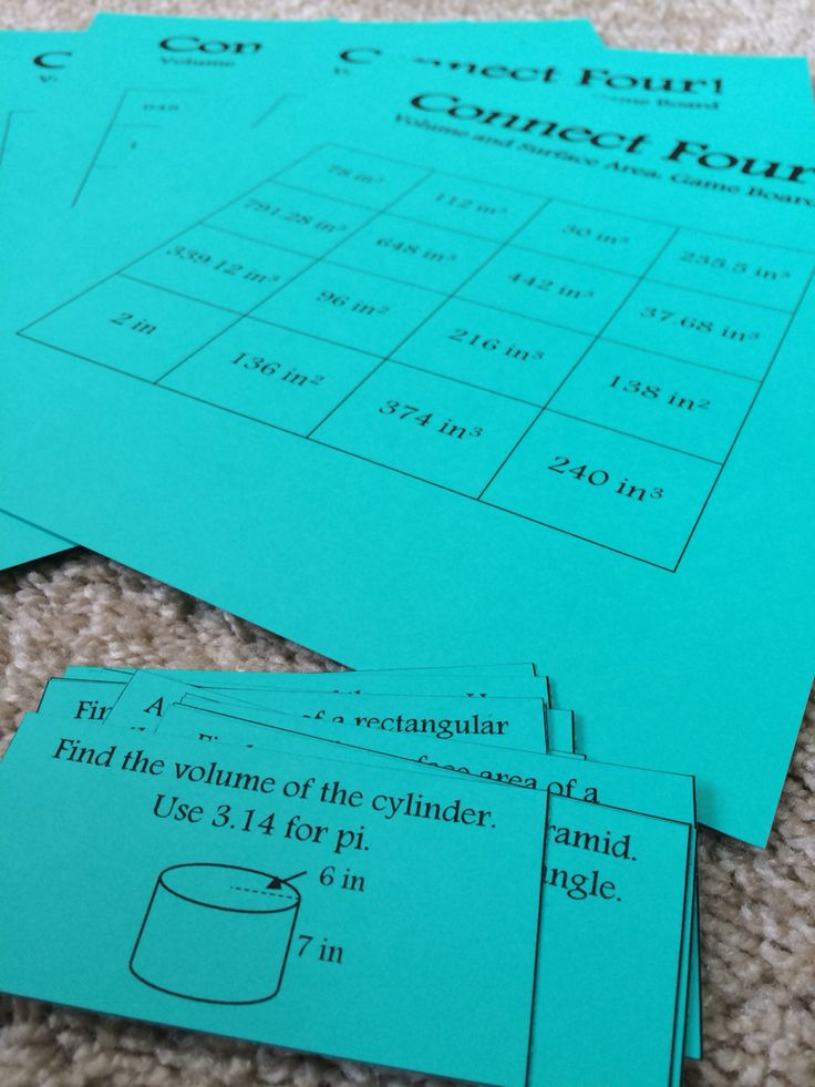 Connect Four: Volume and Surface Area for upper elementary or middle school…