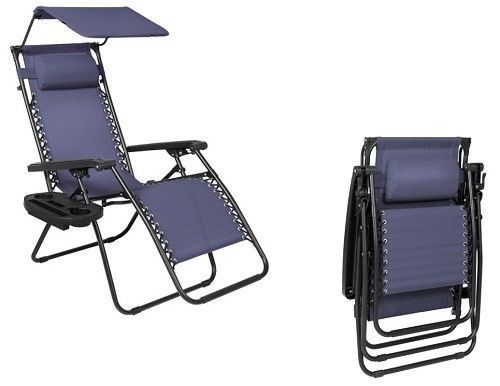 Zero Gravity Lounge Chair Outdoor Folding Chair Canopy Shade Steel Navy Blue New #ZeroGravityLoungeChair