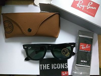 Ray Ban Original Wayfarer RB2140 901 50-22 Black Green Classic G-15 Lens 50 mm