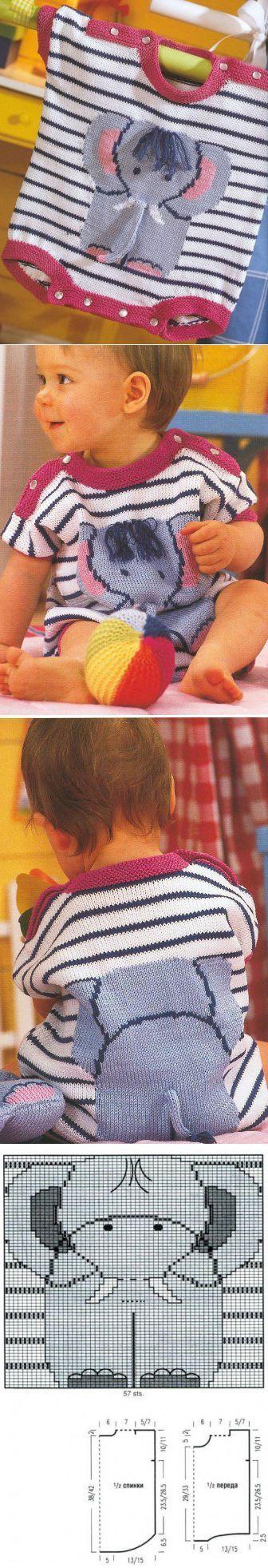 Вязанный летний комбенизончик для малыша - слоник / Детские шапочки, шарфики, пинетки, комплекты. Шитье и вязание для детей спицами и крючком / Ёжка - стихи, загадки, творчество и уроки рисования для детей