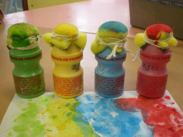 Yakult paint bottles with felt tops