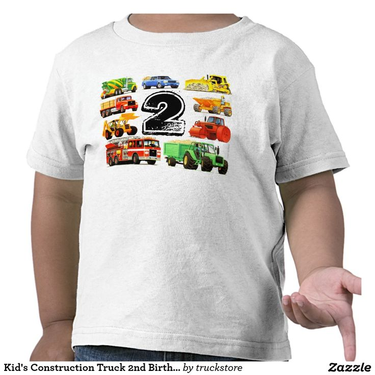 1000 images about construction truck party supplies for Custom kids t shirts