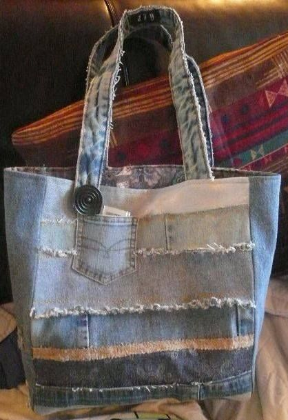 A #recycled denim bag. Why throw out your old jeans if you can turn them into…