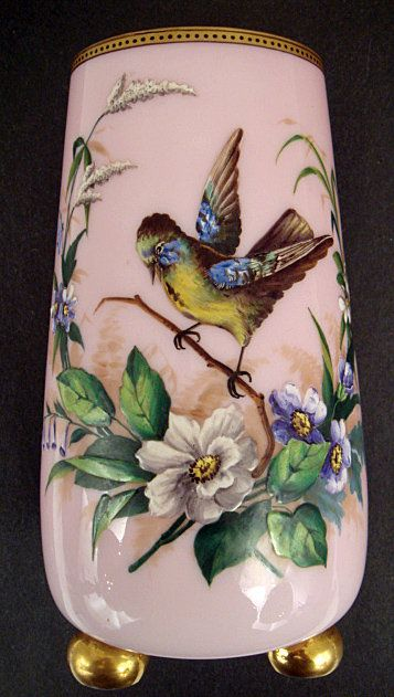 Antique French Cased Glass Enameled Vase. France in the mid 19th century. (pic.1 of 2)