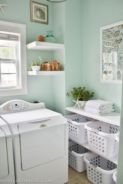 Here's a laundry room I'd want to spend time in! Rain Washed by Sherwin Williams.
