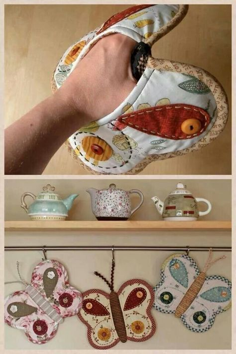 Bellas mariposas, sewing, butterfly potholders (only photo), vlinder pannelappen…