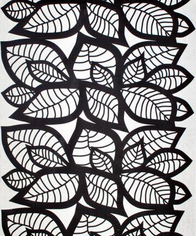 Mairo black Hosta fabric. Designed by Linda Svensson Edevint.
