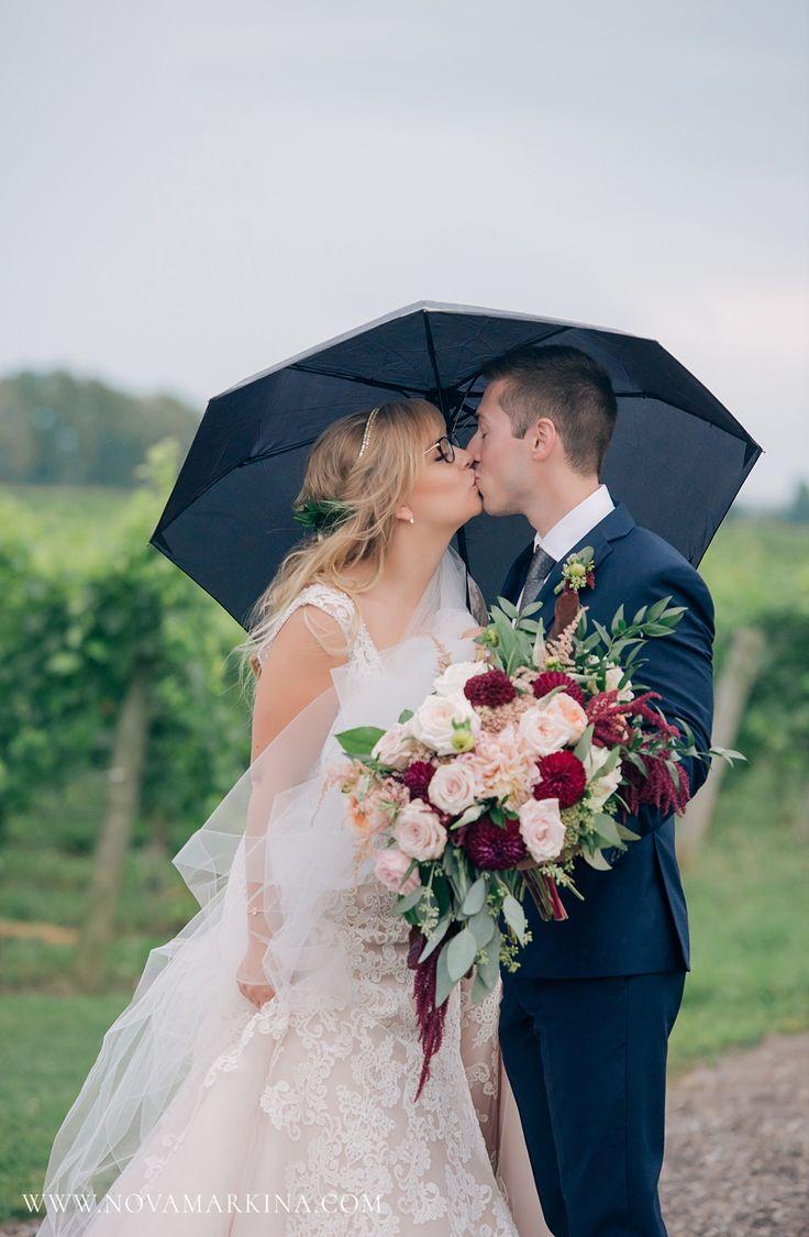True Love Shining Bright Through the Rain || Adorable Bride and Groom Portrait || NovaMarkina Photography || See more of this Mastronardi Estates Winery Wedding here: http://www.novamarkina.com/blog/mastronardi-wedding-photography-k-m