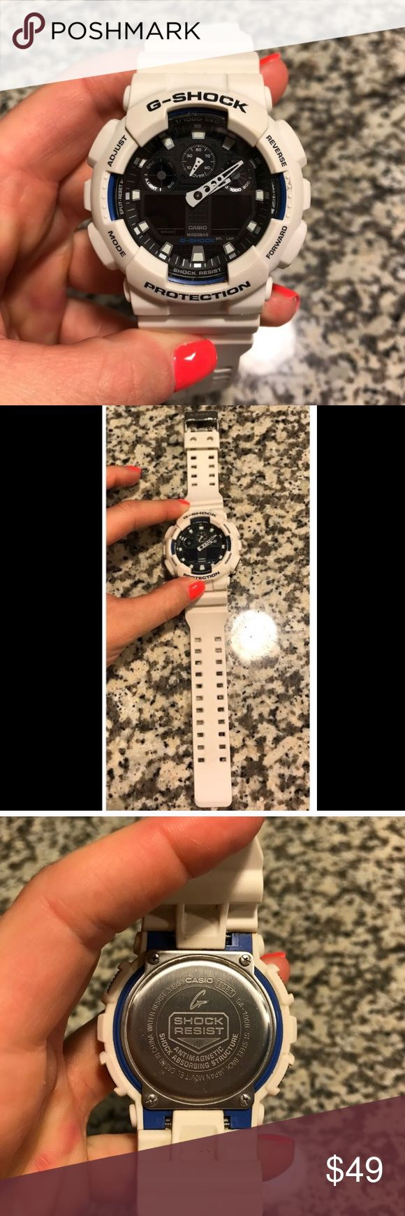 Men's white G-Shock watch Men's white G-Shock watch. Worn but in great shape. Battery is dead, needs new battery, usually $10. (Price reflects needing battery replaced) G-Shock Accessories Watches