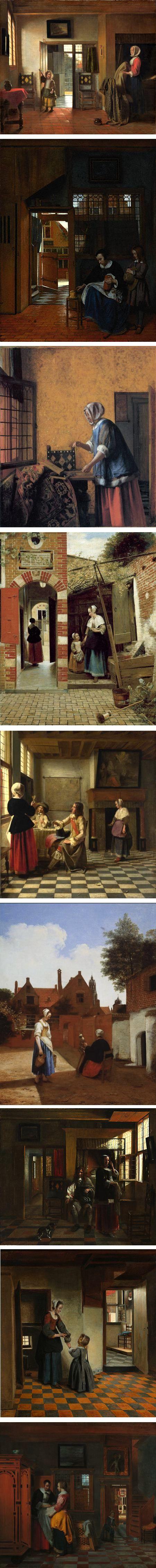 Interiors by Pieter de Hooch  (Dutch, Rotterdam 1629–1684 Amsterdam):