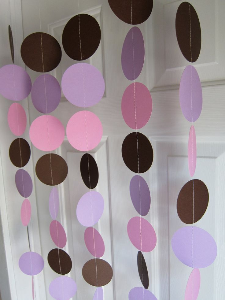 Paper Garland, Brown, Pink, And Purple Circles Dangling Decorations, Baby  Shower Decorations
