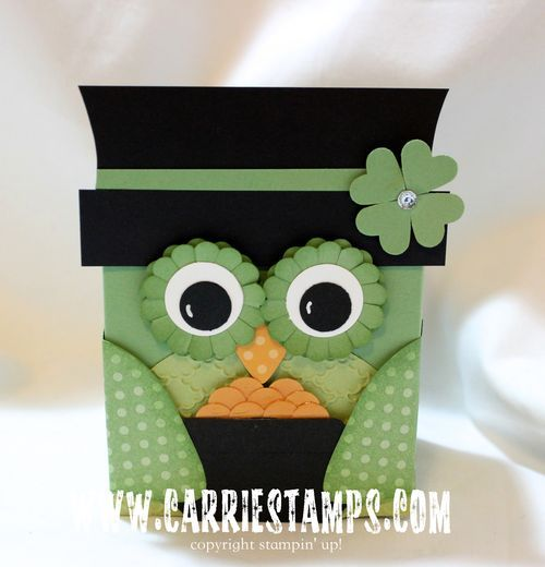 handmade St. Patricks Day card ... punch art ... card shaped like an owl leprechaun ... great fun!!